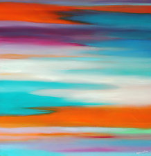 Turquoise in Abstract by Mary Johnston (Oil Painting)