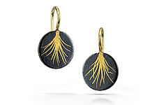Tiny Feather Drops by Edna Madera (Gold & Silver Earrings)