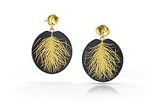 Flora and Feather Earring by Edna Madera (Gold & Silver Earrings)