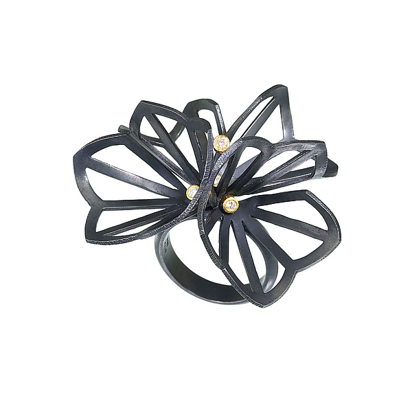 Double Hyacinth Fold Ring with Diamonds