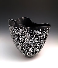 Black and White Sculpted Tall Vase with Intricate Pattern I by Jean Elton (Ceramic Vase)