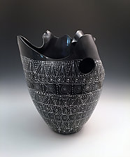Black and White Sculpted Tall Vase with Intricate Pattern III by Jean Elton (Ceramic Vase)
