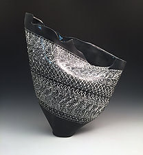 Black and White Sculpted Sail Vase with Intricate Pattern I by Jean Elton (Ceramic Vase)