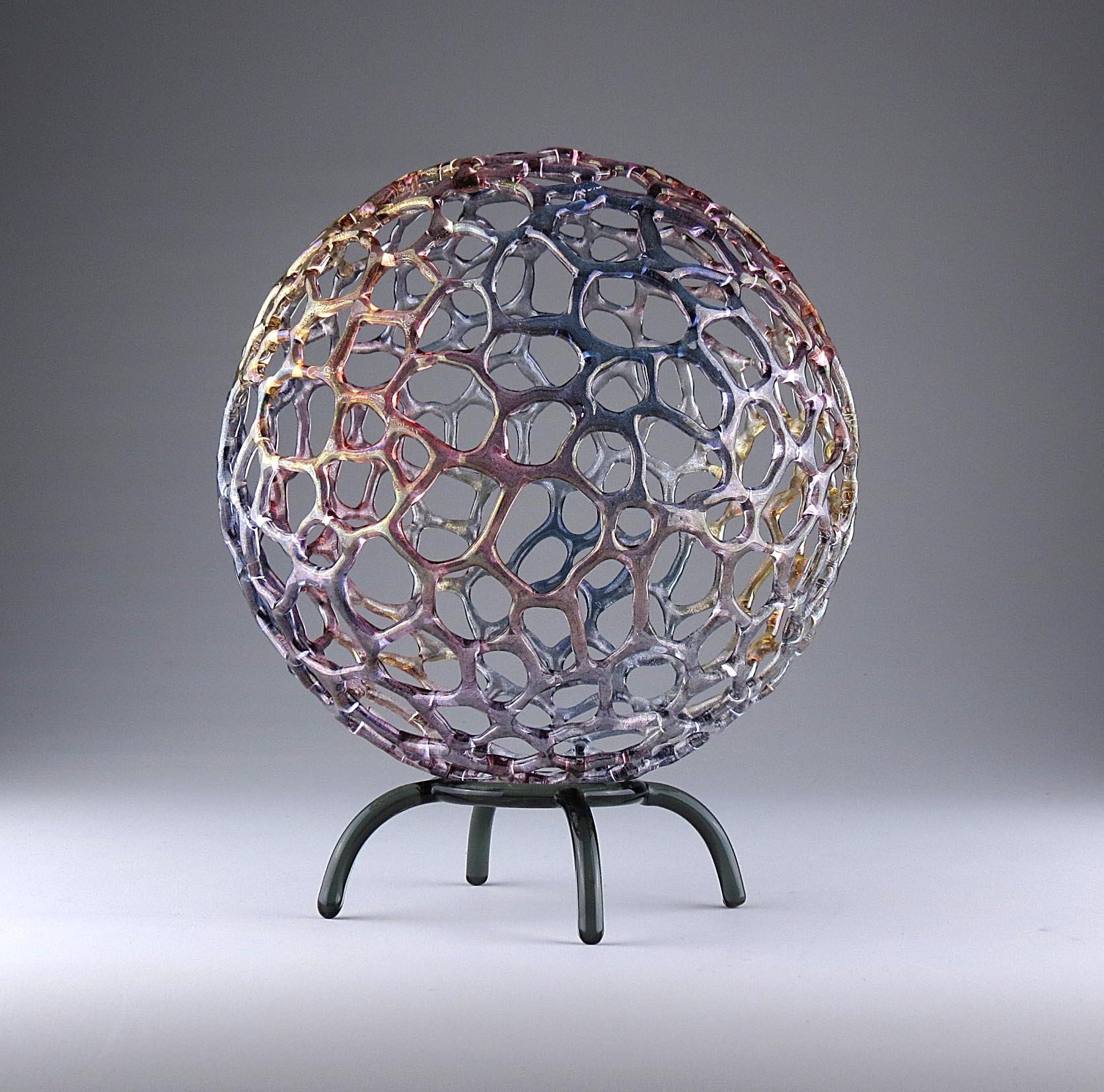Rainbow Mottled Sphere By Bandhu Scott Dunham Art Glass Sculpture Artful Home