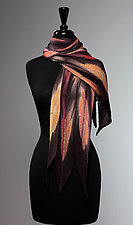 Tangerine Flora Pleated Scarf by Laura Hunter  (Silk Scarf)