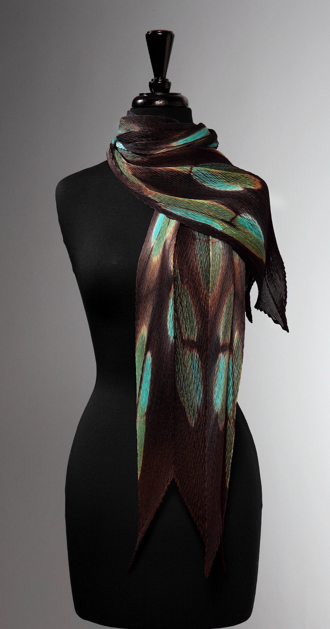 Turquoise Flora Pleated Scarf