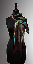 Turquoise Flora Pleated Scarf by Laura Hunter (Silk Scarf)
