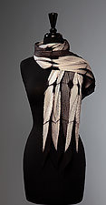 Pleated White and Black Structure Scarf by Laura Hunter (Silk Scarf)
