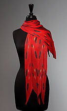 Pleated Circles with Scarlet Scarf by Laura Hunter (Silk Scarf)
