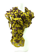 Large Flower Petal Print & Pleats Scarf in Ginkgo Yellow & Black by Yuh Okano (Cotton Scarf)