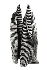 Accordion Drape Pleats Scarf in Black & Ivory by Yuh Okano (Woven Scarf)