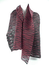 Accordion Drape Pleats Scarf in Black Red by Yuh Okano (Woven Scarf)
