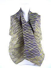 Accordion Drape Pleats Scarf in Sage & Purple by Yuh Okano (Woven Scarf)