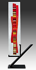 Red Sunset Waterfall by Alicia Kelemen (Art Glass Sculpture)