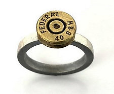 Peace Fire Federal 40 S&W Bullet Ring by Alexan Cerna and Gina  Tackett (Silver & Brass Ring)