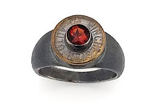 Peace Fire Garnet Ring by Alexan Cerna and Gina  Tackett (Silver, Brass & Stone Ring)