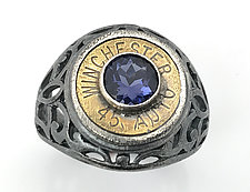 Peace Fire Winchester 45 Auto & Iolite Bullet Ring by Alexan Cerna and Gina  Tackett (Silver, Brass & Stone Ring)