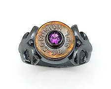 Peace Fire Dominion 38 SPL Amethyst Bullet Ring by Alexan Cerna and Gina  Tackett (Silver, Brass & Stone Ring)