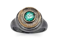 Peace Fire Green Topaz Ring by Alexan Cerna and Gina  Tackett (Silver, Brass & Stone Ring)