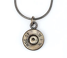 Peace Fire Win 40 S&W Necklace by Alexan Cerna and Gina  Tackett (Silver & Brass Necklace)