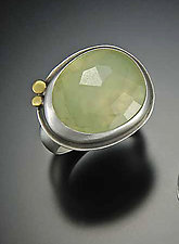 Rose Cut Prehnite Ring by Ananda Khalsa (Silver & Stone Ring)