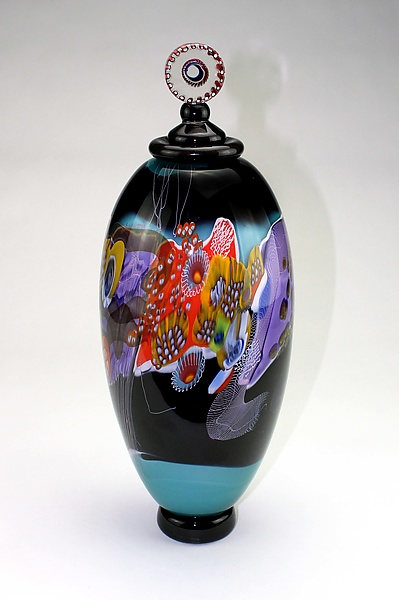Color Field Jar in Teal and Black