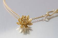 Small Waterlily Pendant in Gold by Elise Moran (Gold Necklace)