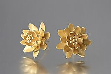 Waterlily Post Earrings in Gold by Elise Moran (Gold Earrings)