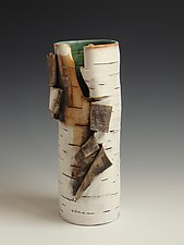 Unfurled with Green by Lenore Lampi (Ceramic Vase)
