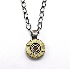 Peace Fire Bullet Necklace with Citrine by Alexan Cerna and Gina  Tackett (Brass & Stone Necklace)