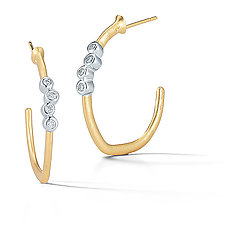 Scribble Small Gold and Diamond Cluster Hoops by Dana Melnick (Gold & Stone Earrings)