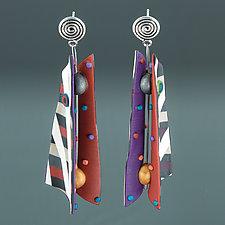 Razor Shell - Red Purple Multi Mix by Arden Bardol (Polymer Clay Earrings)