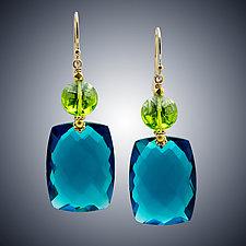 Peridot Quartz and London Blue Quartz Earrings by Judy Bliss (Gold & Stone Earrings)