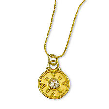 Champagne Diamond on Granulated Disk by Nancy Troske (Gold & Stone Necklace)