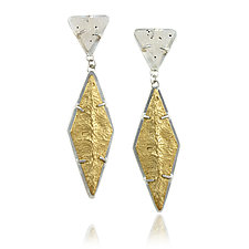 Druzy Topped Ridge Dangle Post Earrings by Amanda Hagerman (Gold, Silver & Stone Earrings)