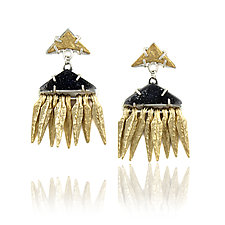 Fringed Druzy Peak Earrings by Amanda Hagerman (Gold, Silver & Stone Earrings)