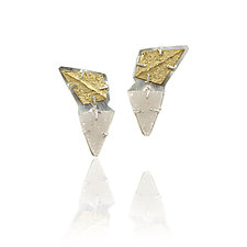 Fanned Ridge Druzy Earrings by Amanda Hagerman (Gold, Silver & Stone Earrings)