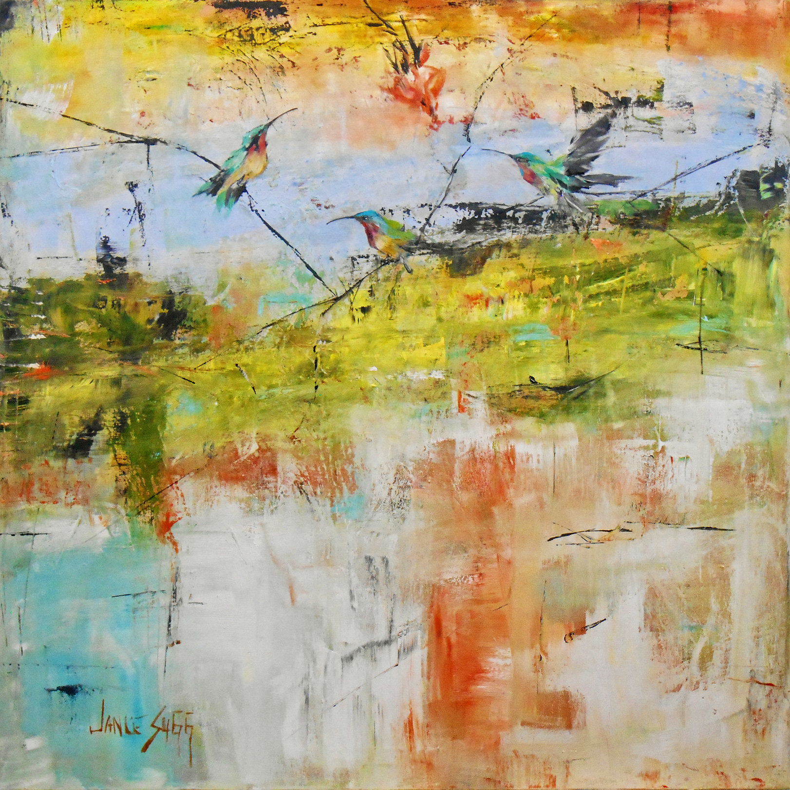 Darting through strands of mist by janice sugg oil for Will oil paint stick to glass