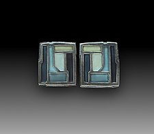 Tile earrings No 213 by Carly Wright (Silver & Enamel Earrings)