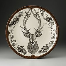 Large Round Platter: Red Stag by Laura Zindel (Ceramic Platter)