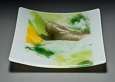 Abstract Plate in Green by Martha Pfanschmidt (Art Glass Plate)