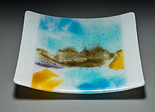 Abstract Plate in Blue by Martha Pfanschmidt (Art Glass Plate)