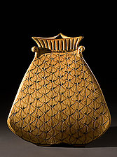 Gold Bulbous Vase by Jim and Shirl Parmentier (Ceramic Vase)