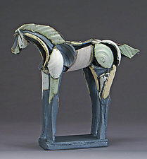 Light Horse, Arching Neck by Jeri Hollister (Ceramic Sculpture)