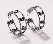Folded Leaf  Loop Earrings by Sadie Wang (Silver Earrings)