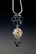 Folded Leaf Tri-Flower Pendant by Sadie Wang (Silver Necklace)