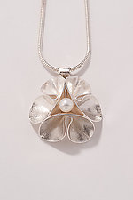 Folded Leaf Pearl Necklace by Sadie Wang (Silver & Pearl Necklace)