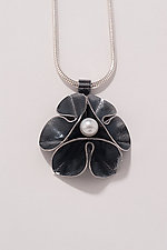 Oxidized Folded Leaf Pendant with Pearl by Sadie Wang (Silver & Pearl Necklace)