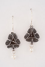 Oxidized Folded Leaf Earrings with Pearl Drop by Sadie Wang (Silver & Pearl Earrings)