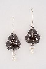 Oxidized Folded Leaf Earrings with Pearl Drop by Sadie Wang (Silver & Pearl Earrings)